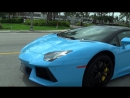Lamborghini Aventador LP700 4 Blue Roadster Start Up Drive Delivery to Lamborg