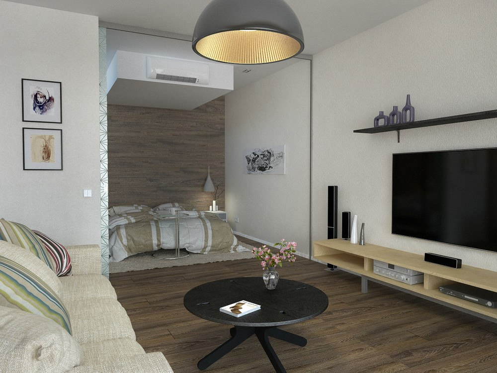 Перепланировка 1-комнатной квартиры 50 м в студию.