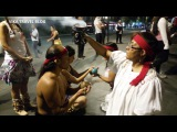 The dance and ritual of the American Indians, Easter night 2017 in Mexico city.