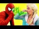 Frozen Elsa SMELLY POOP FART!! w/ Spiderman vs Frozen Elsa Superhero Movie in real life IRL