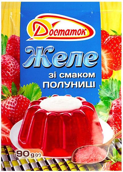 Желе зі смаком полуниці, ТМ Достаток, 90 г