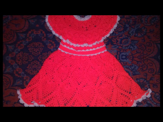 Платье для девочки 3 5 лет крючком 1 часть Кокетка Knit a beautiful dress hook