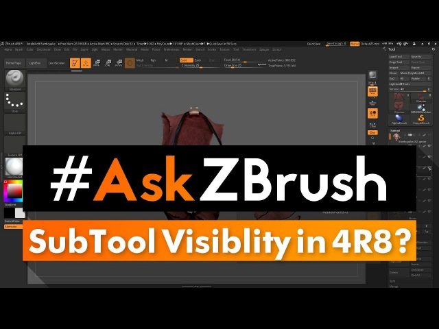 "AskZBrush: ""How can I change the visibility of all SubTools in ZBrush 4R8?"""