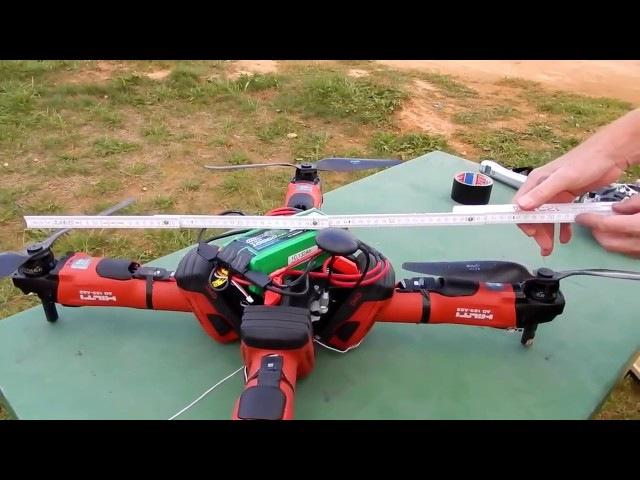 Квадроптер из болгарок Hilti. Подъем 3,85 кг