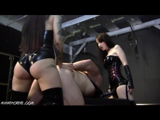 Several latex mistresses gangbang slave