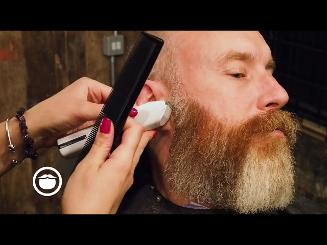 Beard Trim of Medium Length Red Silver Beard | Barbershop Narration