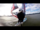 Overpowered bump and jump Windsurfing in 30 knots with Gopro helmet and harness cam