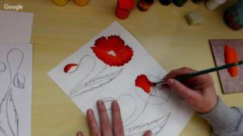 Рисуем маки за 10-15мин плоскими и круглыми кистями