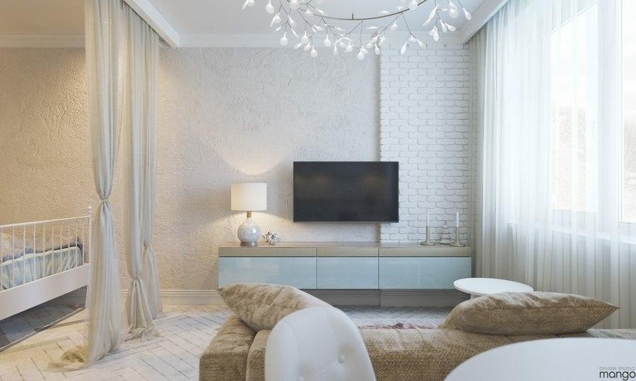 Проект квартиры 34,5 м (+ балкон 2,3 м).
