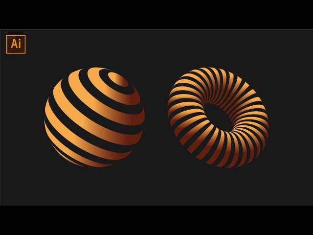 Striped 3D Shapes Tutorial | Adobe Illustrator