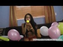 Sexy girl blow to pop B2P balloons
