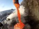 Вот, что происходит с лавой попадающей в воду!