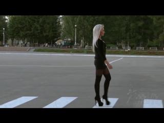 Hot blonde with confident walk Zebra Crosswalk