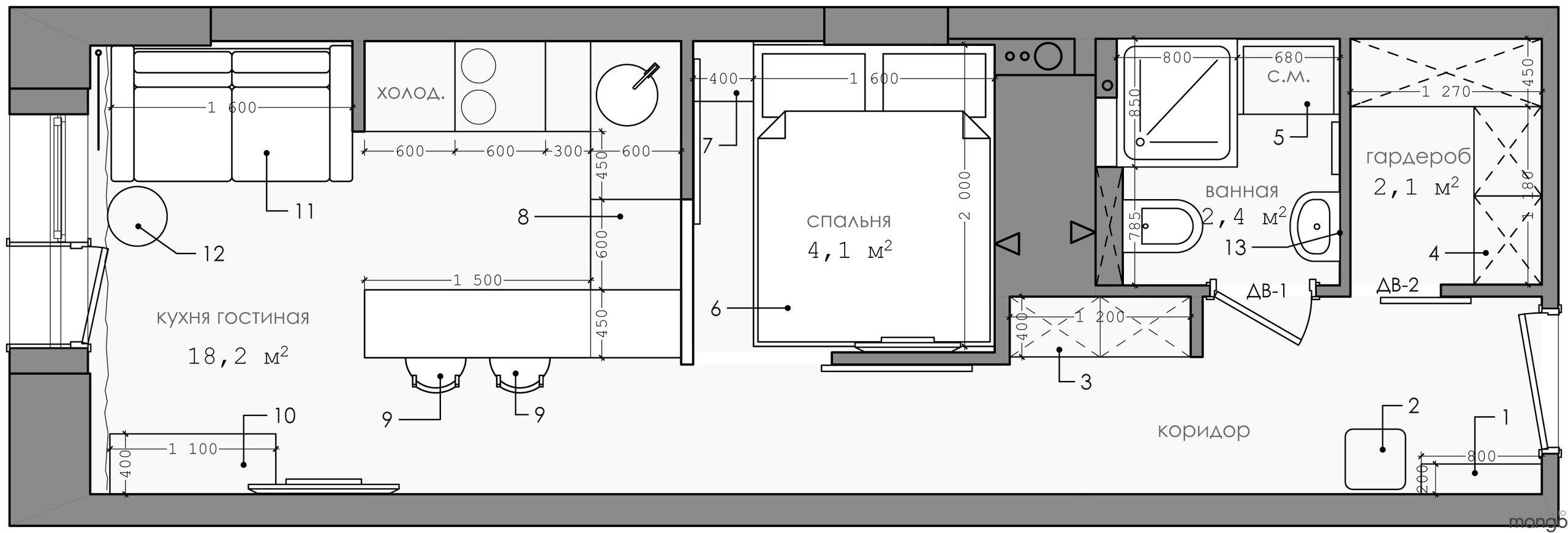Оригинальный вариант организации прямоугольной студии 27 м.