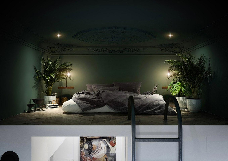 Проект квартиры-студии 30 м со спальным чердаком.