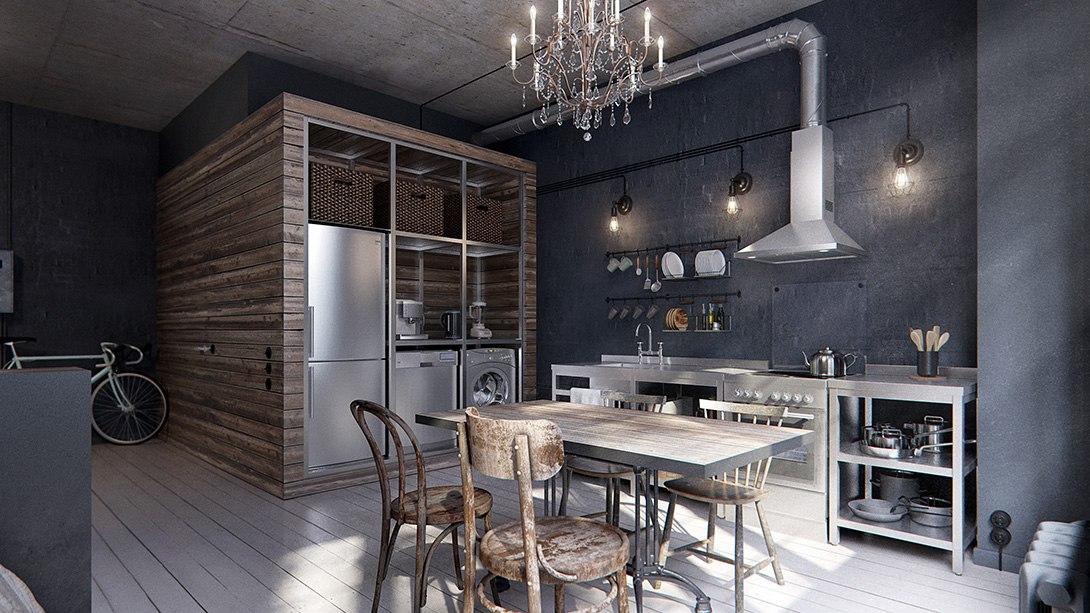 Дизайн-проект квартиры 41 м под лофт.