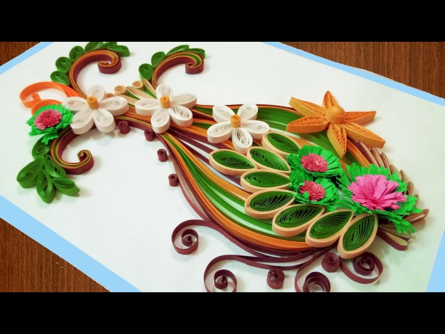 Paper art Quilling flower vase Quilling Birthday Greeting Card 🌹Paper Quilling Art🌹