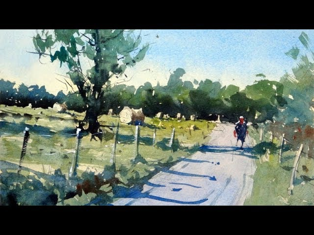 How to paint a rural scene and composition tips - Watercolor demo by Tim Wilmot 22