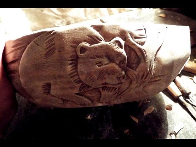 Резьба по дереву. медведь. супница.оформление деревянной посуды
