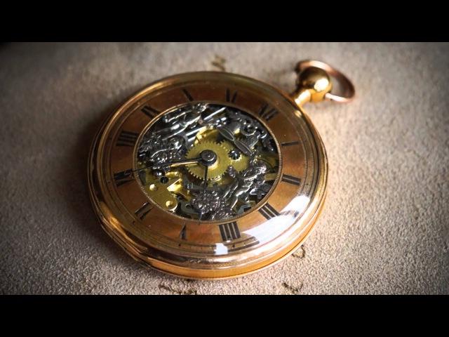 Старинные золотые карманные часы с репетиром и жакемарами / Антикварный магазин...