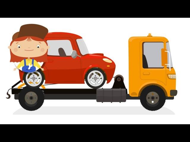 O caminhão de reboque quebrou Doutora Mac Wheelie. Desenhos animados de CARROS. desenhoscarros