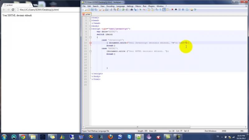 Yakın Kampüs - Javascript Ders 11 - Javascriptte Switch Komutu
