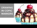 Copic markers speed drawing 8 / Рисую маркерами Copic капкейк с вишней