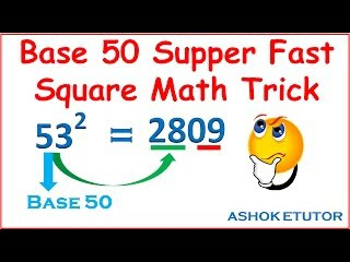 Fast Square Math Trick Supper fast mental Square of any number math trick by using of base 50 -