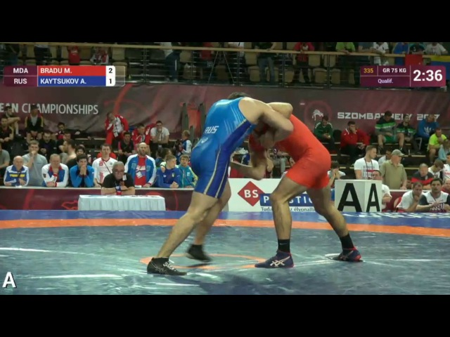 75кг Qualification: Mihail BRADU (MDA) vs. Akhmed KAYTSUKOV (RUS)