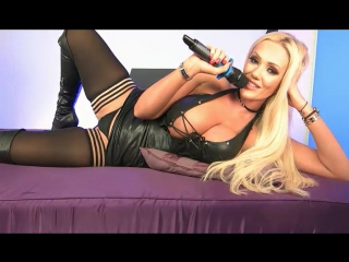 Blonde bombshell Lucy Zara vaunting round tits while toying shaved pussy  951323