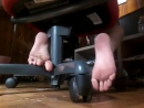 Young teen boy smelly feet under desk