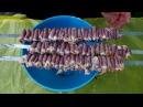Шашлык из куриных сердечек маринованных в томатном соке на углях на мангале