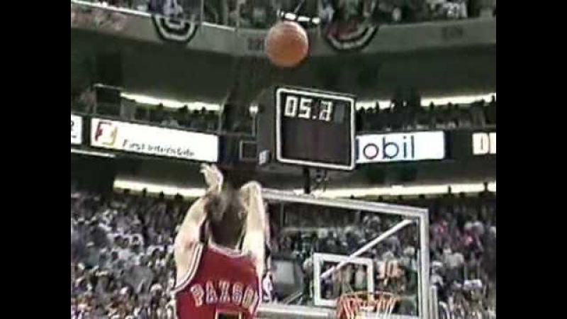 John Paxson's game winning three in game 6 of the 1993 NBA Finals
