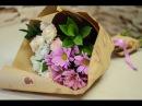 Букет в крафт-бумаге из кустовых роз и хризантем. Школа флористики Амстердам