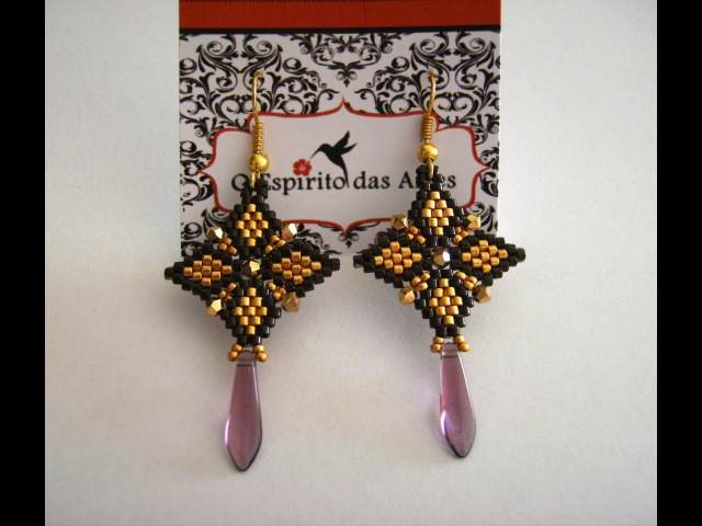 Brick Stitch 4 Point Earrings with delicas and 3mm bicones Beading Tutorial