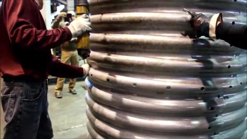 Контрольная сборка гофротрубы. Схема сборки гофротрубы (параметр гофра 130х32,5мм, диаметр - 1,5 м)