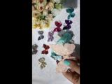большая бабочка на повязка из блестящего материала со средне-крупными блестками,  цвет нежный розовый @v.olli_accessories
