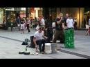 Morf and The Bucket Boy busking at Pitt Street Mall Sydney