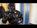 Dressing in two layers heavy rubber catsuit  Ganzanzug Gummianzug  with mask and gasmask - Part 22
