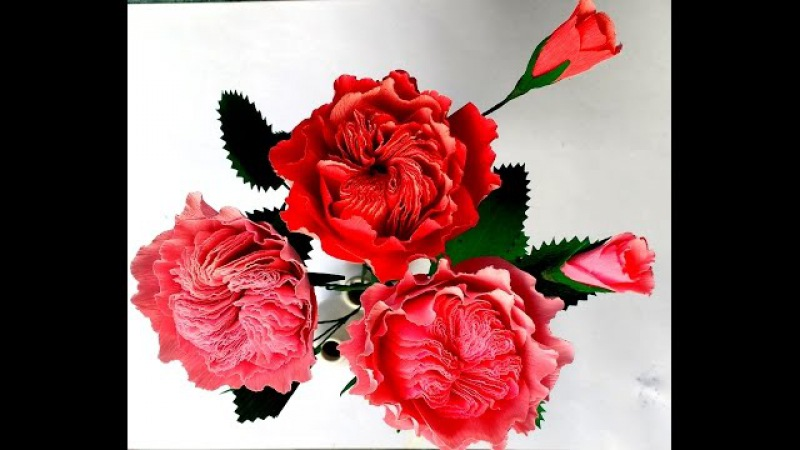 How to make Paper flowers David Austin Rose (flower 105)