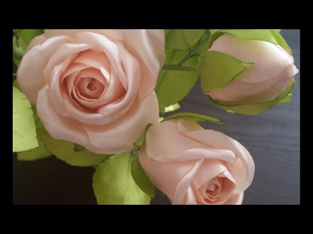 Роза из атласных лент.Часть 2.