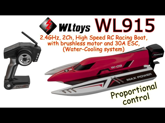 WLtoys WL915 2.4GHz, 2Ch, Brushless, Anti-capsizing RC Boat, Water-Cooling system (RTR)