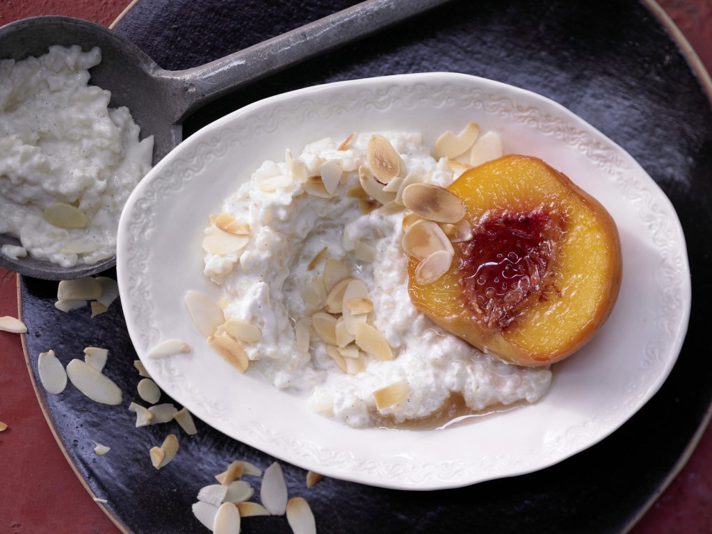Сладкое ризотто с жаренными персиками 1 стручок ванили 30