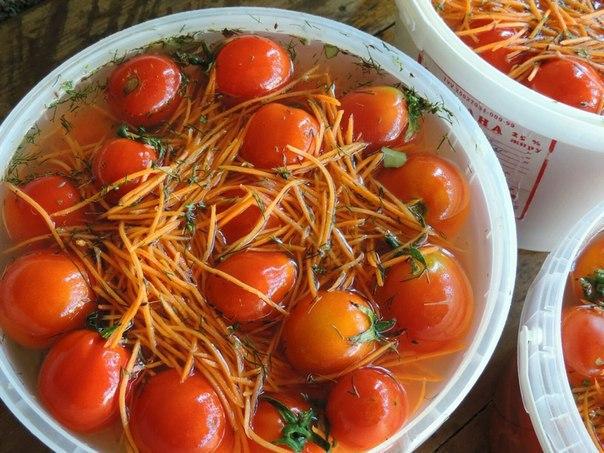 Помидоры с морковью. На 10 частей помидор