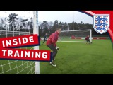 Group training drill with the England U21 Goalkeepers Inside Training