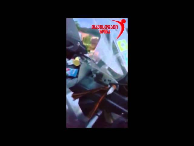 Путинские байкеры в Грузии ударили женщину за попытку снять гергиевскую ленточ...