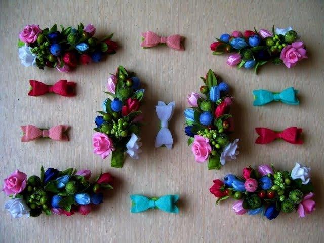 Заколка с цветами и ягодами мастер класс
