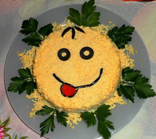 Украшение детского салата с