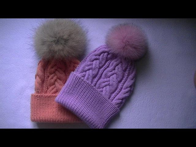Вязание шапки спицами узором сложная коса с 18 петель