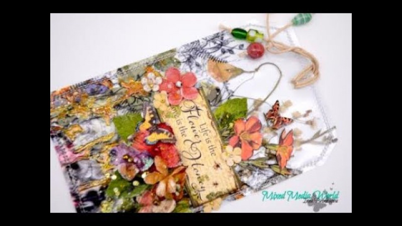 Transparent tag with dried herbs for Mix Media World Step by step